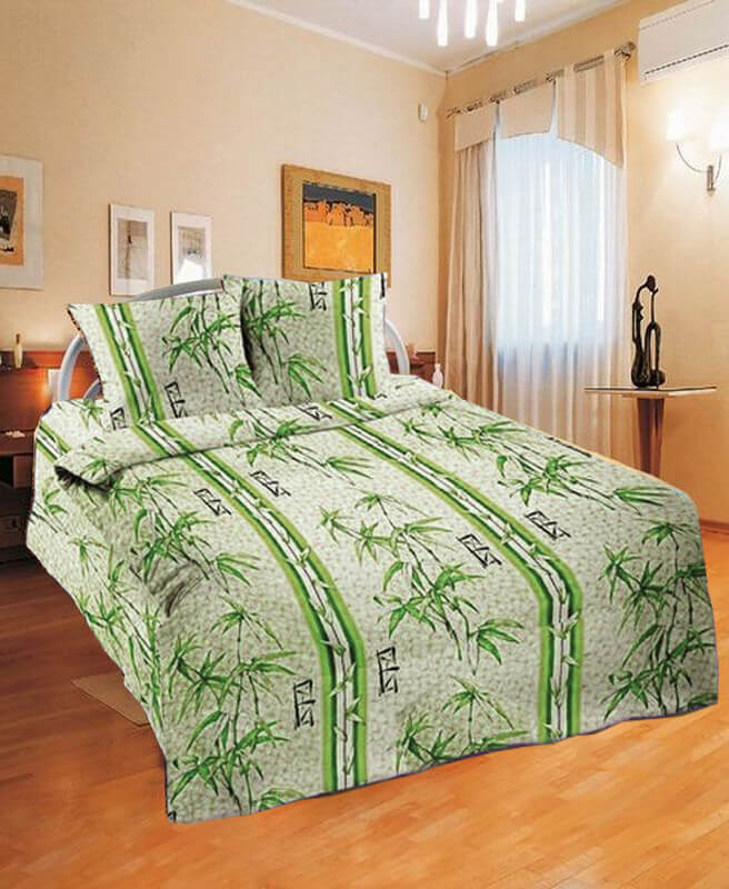 """Пододеяльник 1,5-спальный, с вырезом """"ромб"""", бязь Шуйская ГОСТ (Бамбук, зеленый)"""