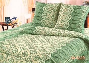 """Пододеяльник 1,5-спальный, с вырезом """"ромб"""", бязь Шуйская ГОСТ (Огурцы, зеленый)"""