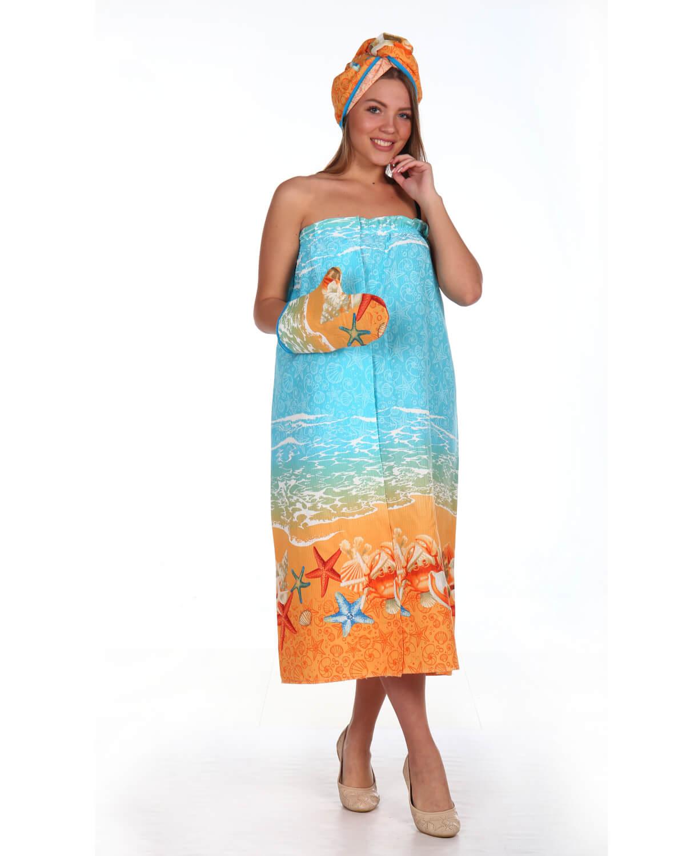 Комплект для сауны женский, 3 предмета, вафельная ткань (Морские звёзды)