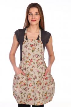 Фартук кухонный, полулен, два кармана (Вальс цветов)