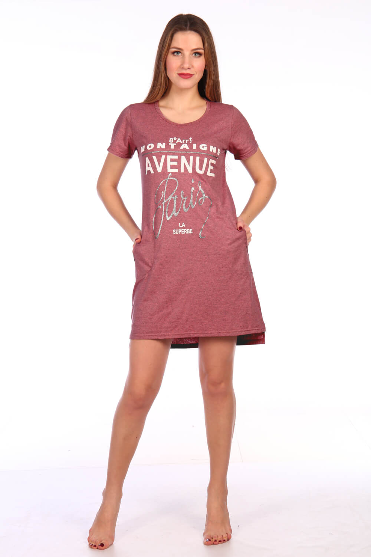 Туника женская, модель 135, трикотаж-меланж (Авеню Монтень, сухая роза)