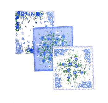 Комплект женских носовых платков 28*28 см, 10 шт., Шуйский ситец (Полянка, голубой)