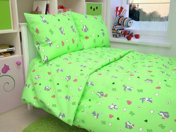 """Пододеяльник 112*147 см в детскую кроватку, бязь """"Люкс"""" (Зайчата, зеленый)"""
