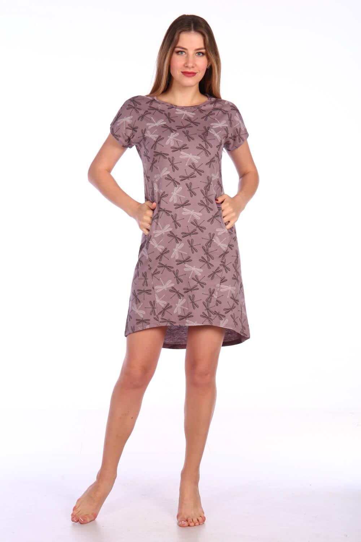 Туника женская, модель 150, трикотаж (Стрекозы, лиловый)