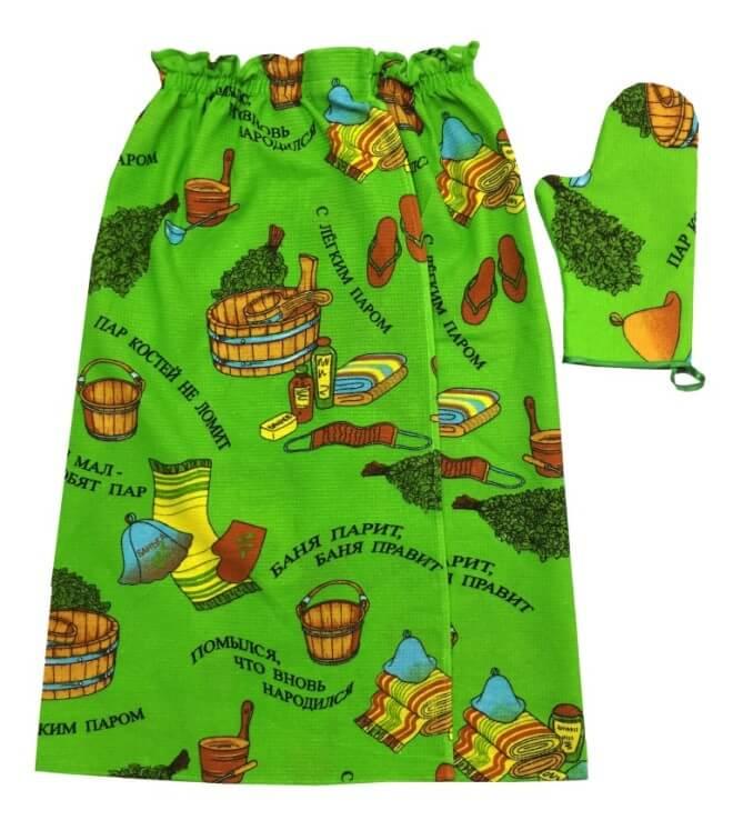 Комплект для сауны мужской, вафельная ткань (Пар костей не ломит, зеленый)
