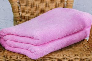 Махровая простыня 190*220 см, гладкокрашенная (Розовый)