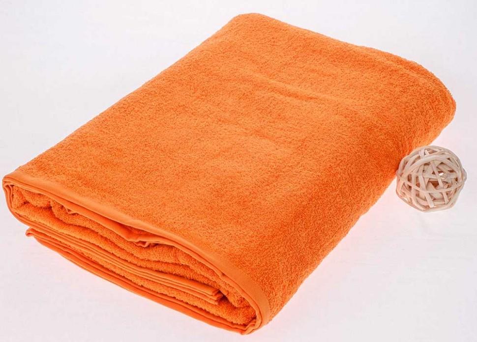 Махровая простыня 190*220 см, гладкокрашенная (Оранжевый)
