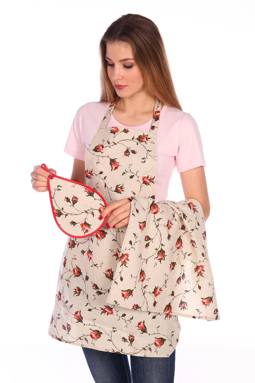 Комплект для кухни, полулен, 3 предмета (Розы, красный)