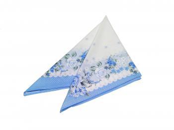 Головной платок, ситец, хлопок 100% (Полянка, голубой)