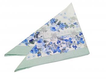 Головной платок, ситец, хлопок 100% (Вальс цветов, бирюзовый)