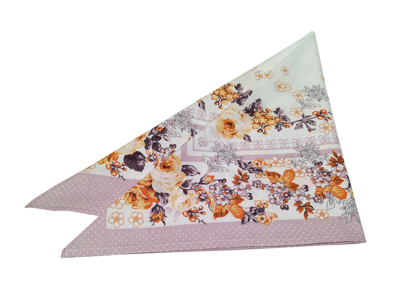 Головной платок, ситец, хлопок 100% (Вальс цветов, сухая роза)