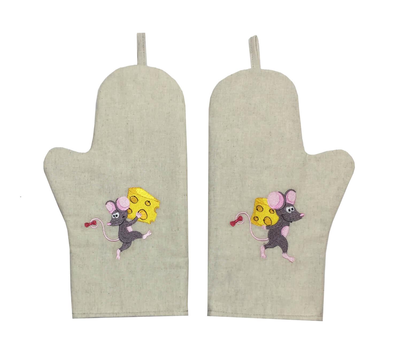 Комплект рукавиц для кухни с вышивкой, лен, 2 штуки (Тише, мыши)