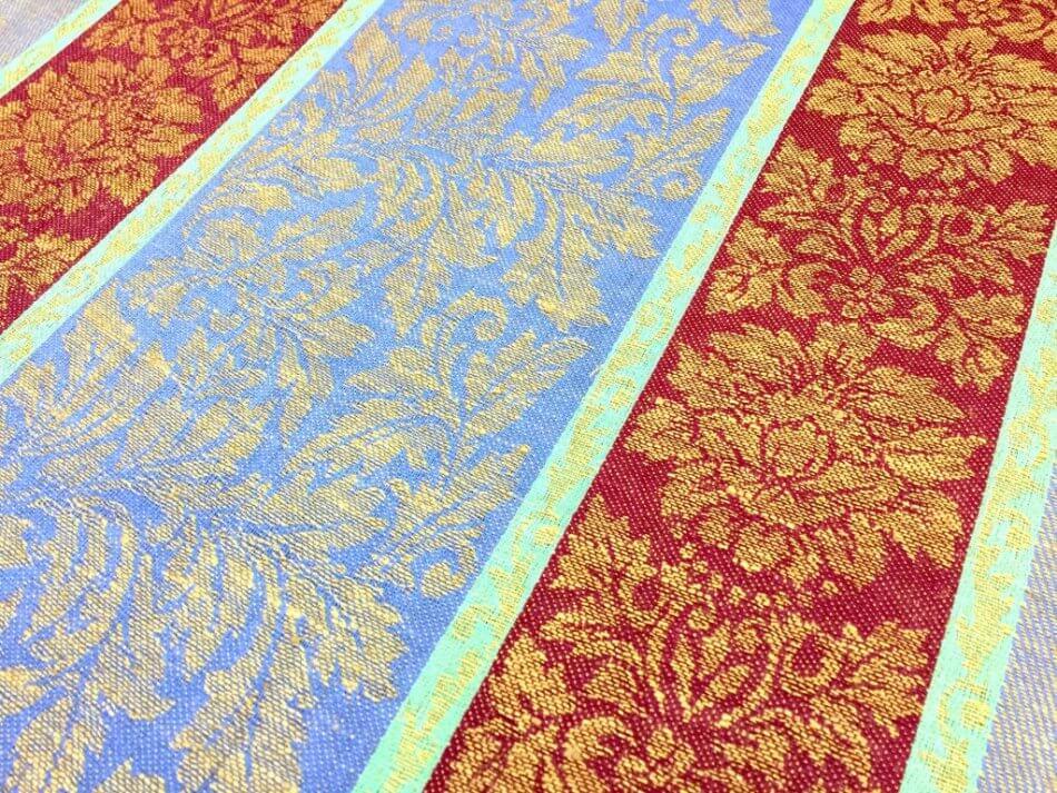 Полотенце кухонное 50*70 см, жаккардовое, 100 % лён (Венеция, красно-голубой)
