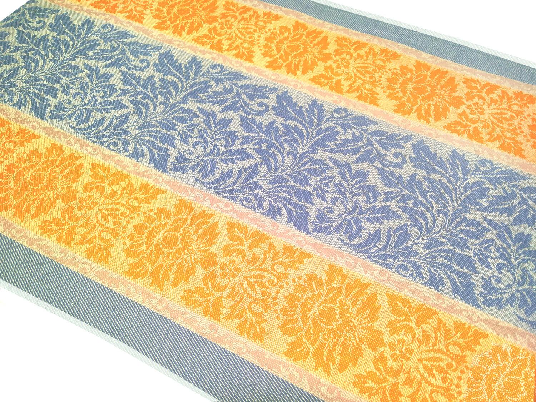 Полотенце кухонное 50*70 см, жаккардовое, 100 % лён (Венеция, оранжево-голубой)