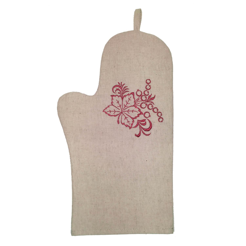 Рукавица для кухни с  вышивкой, лен (Смородина)