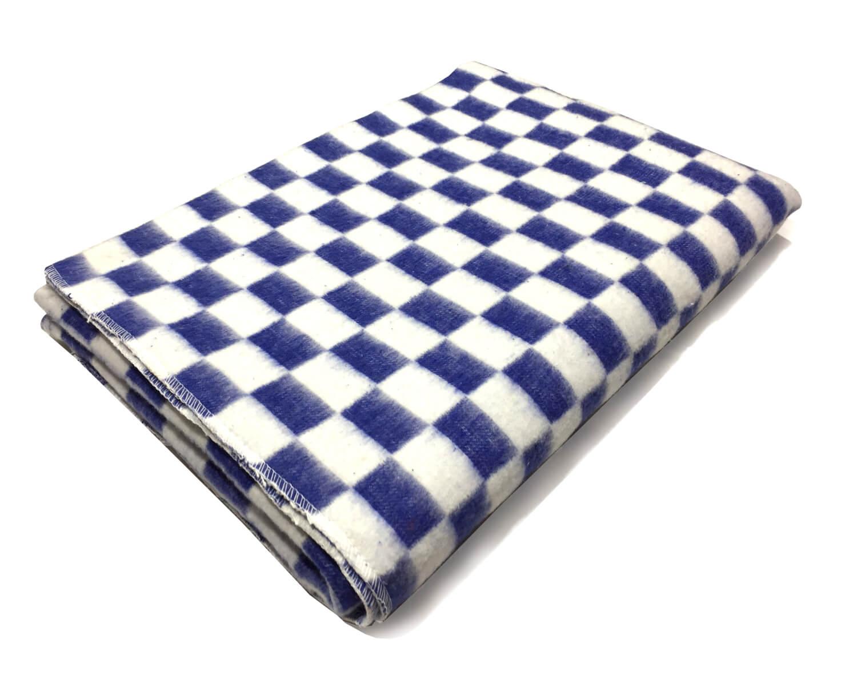 """Одеяло 1,5-спальное """"Байковое"""", клетка. (Клетка, синий)"""
