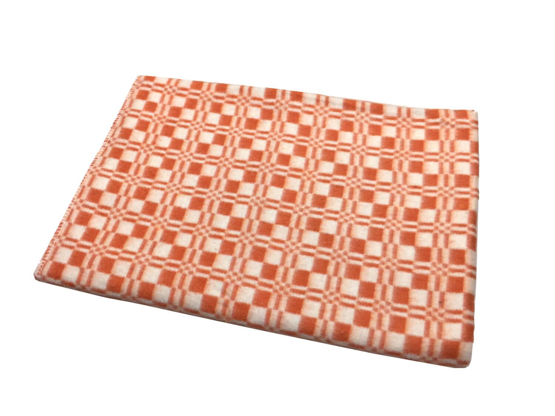 """Одеяло 100*140 см """"Байковое"""", клетка. (Клеточка, оранжевый)"""