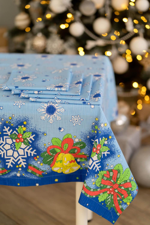 Комплект столового белья, чесуча 150*150 см/4салф.43*43см (С Новым Годом)