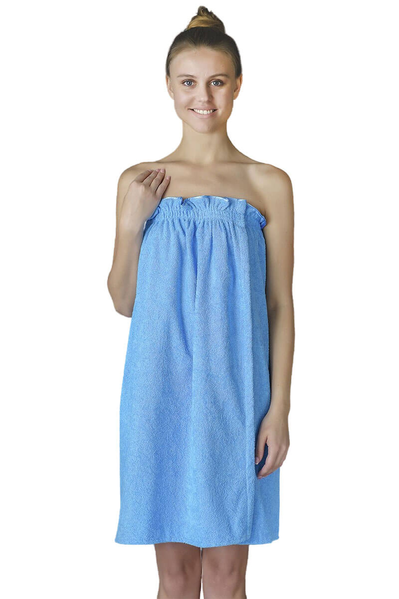 Парео- полотенце на липучке,100 % хлопок (Голубой)