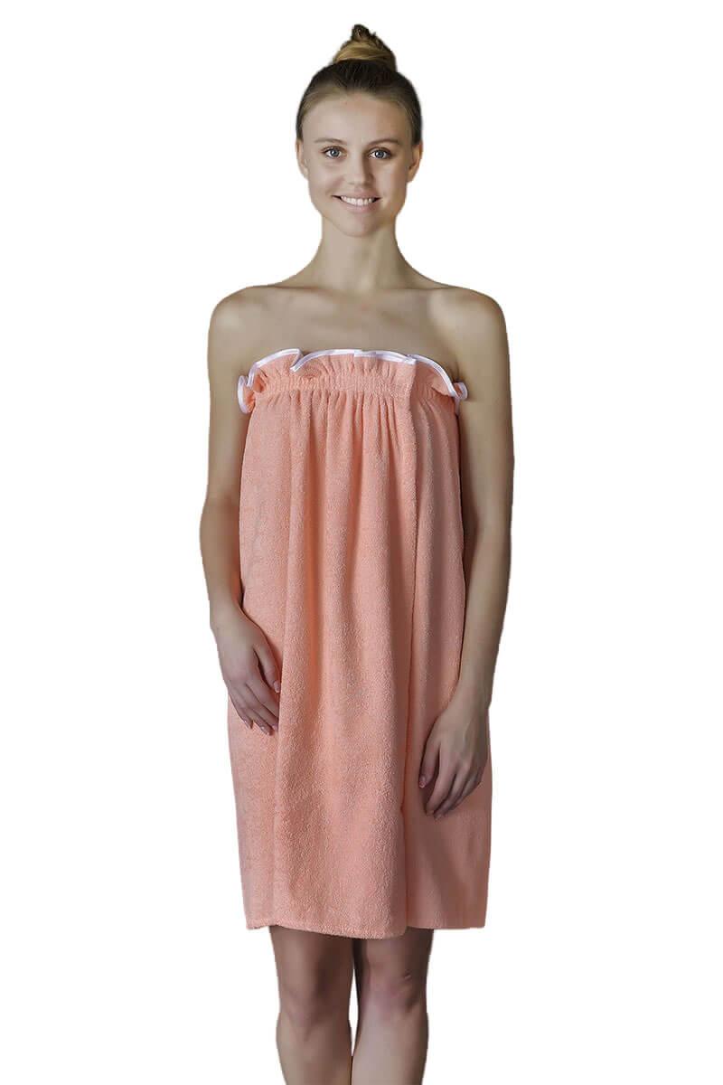 Парео- полотенце на липучке,100 % хлопок (Персиковый)