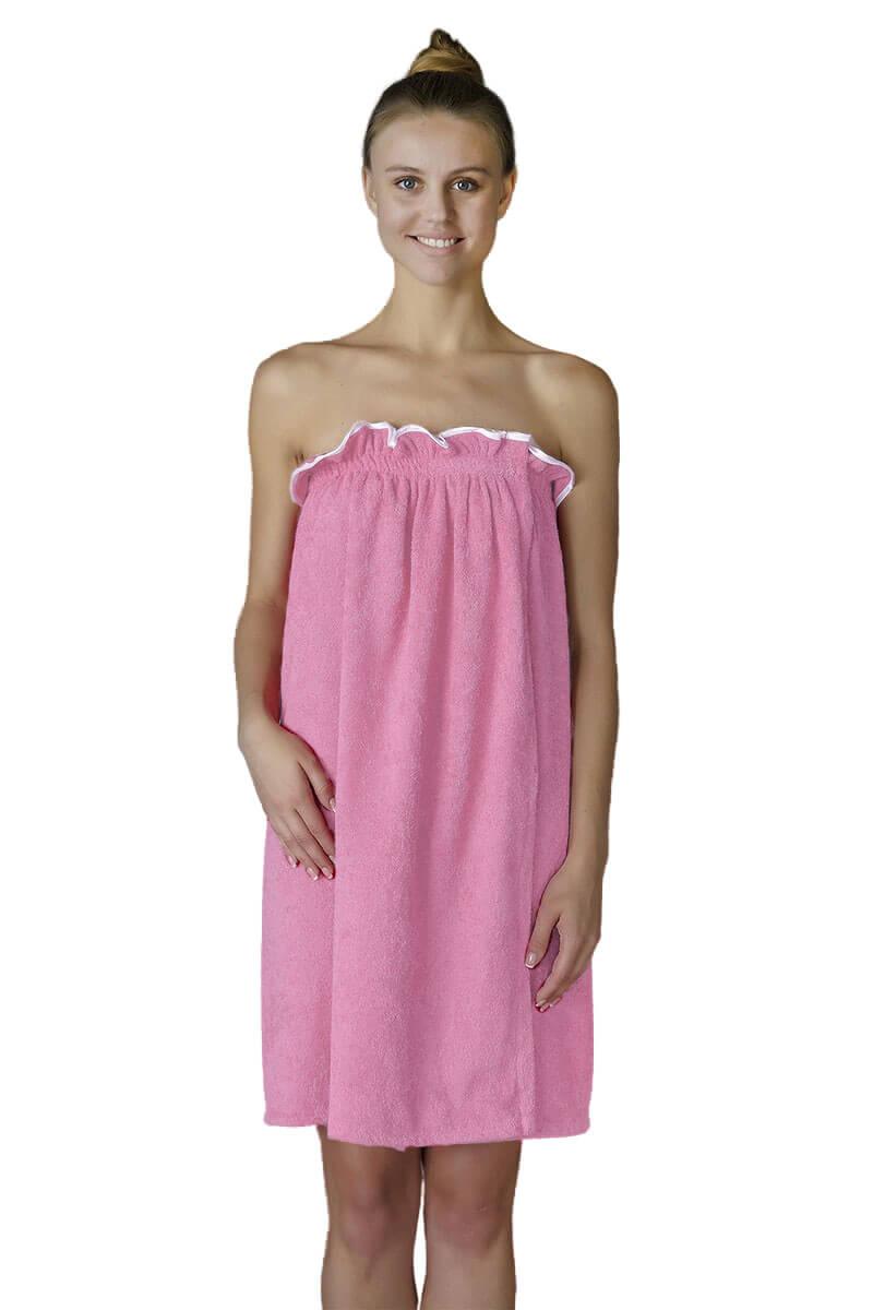 Парео- полотенце на липучке,100 % хлопок (Розовый)