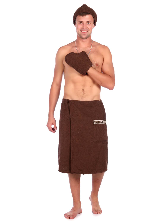 Комплект для сауны мужской,100% хлопок (Коричневый)