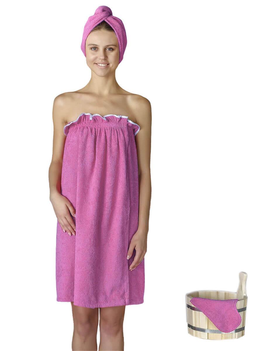 Комплект для сауны женский,100% хлопок (Розовый)