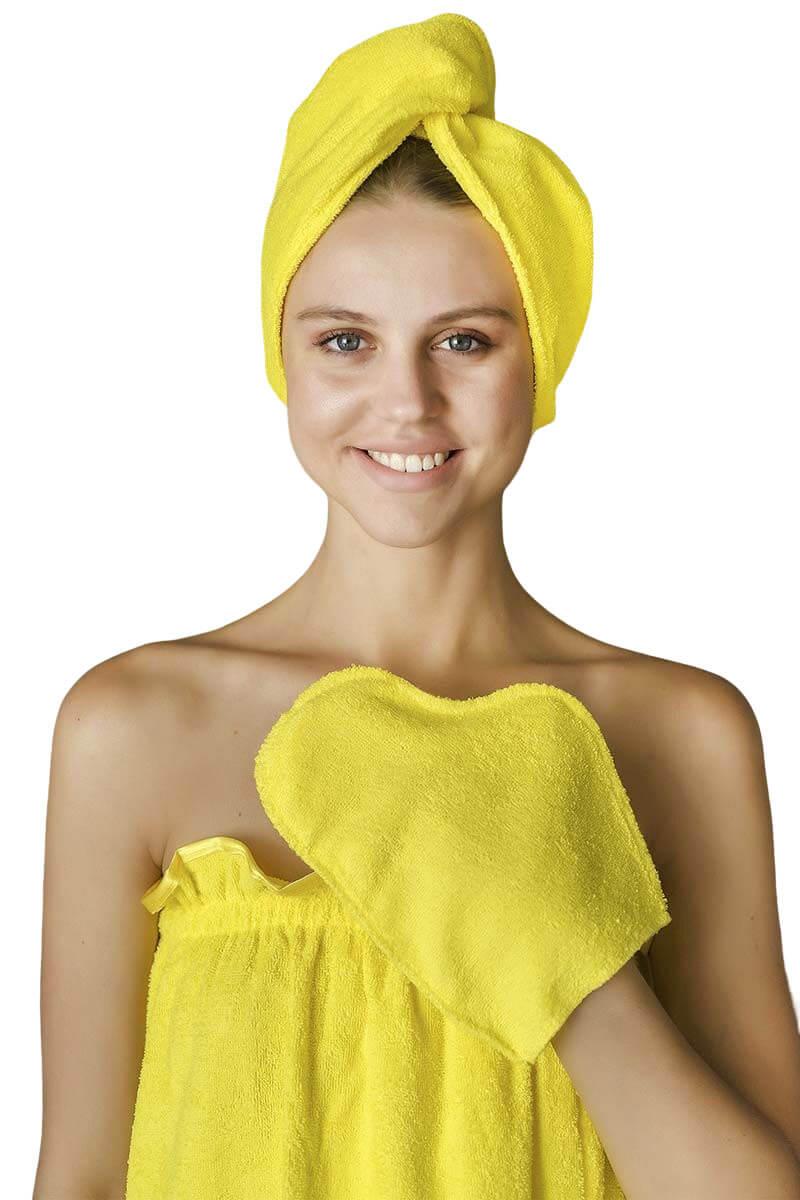 Комплект для сауны женский,100% хлопок (Лимонный)
