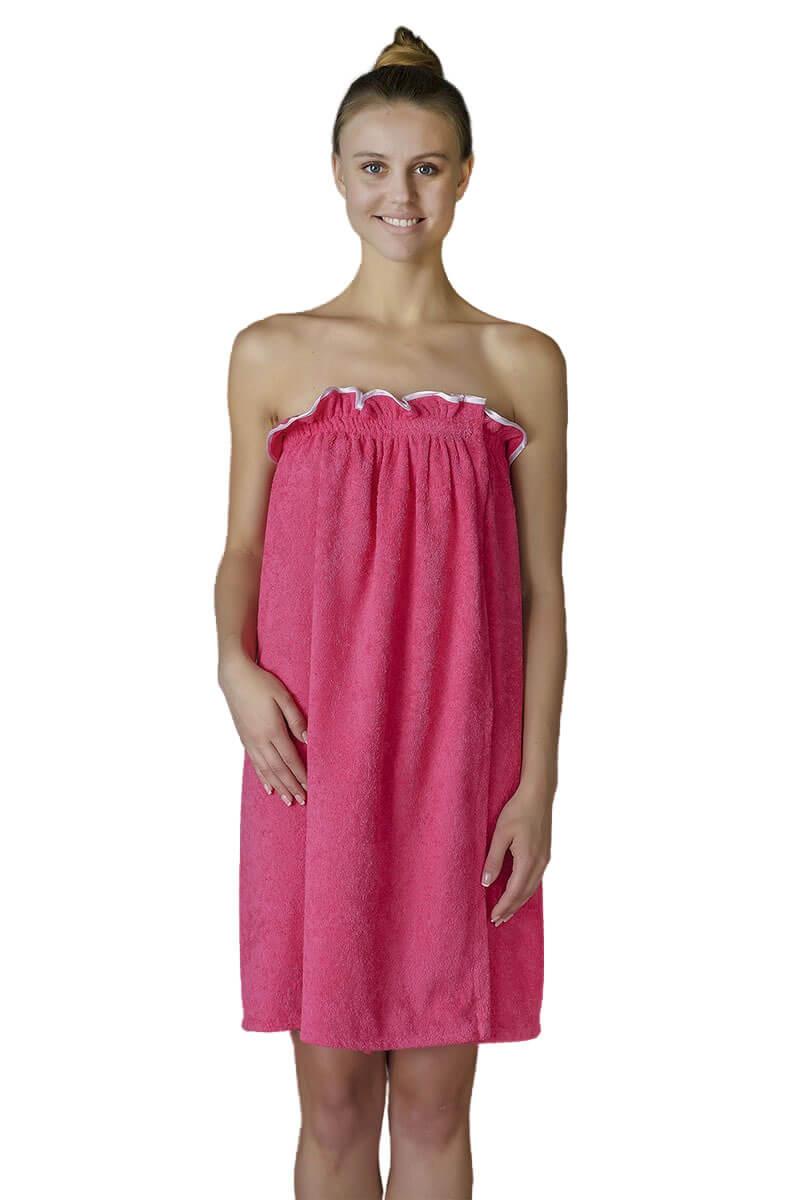 Парео- полотенце на липучке,100 % хлопок (Малиновый)