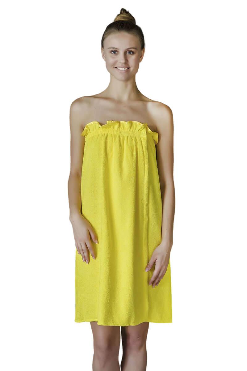 Парео- полотенце на липучке,100 % хлопок (Лимонный)
