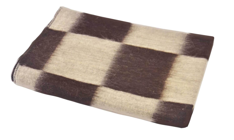 Одеяло полушерстяное 100*140 см. Плотность 600г/м2 (Крупная клетка, коричневый)