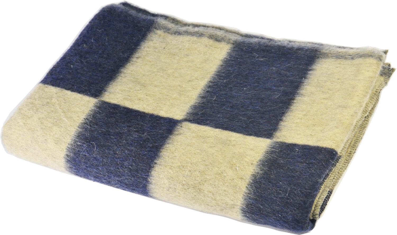 Одеяло полушерстяное 100*140см. Плотность 500 г/м2 (Крупная клетка, темно-синий)