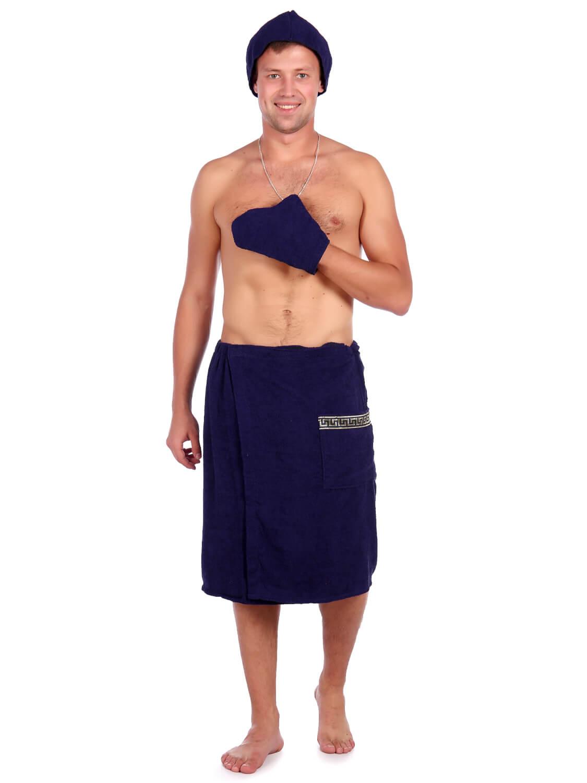 Комплект для сауны мужской,100% хлопок (Темно-синий)