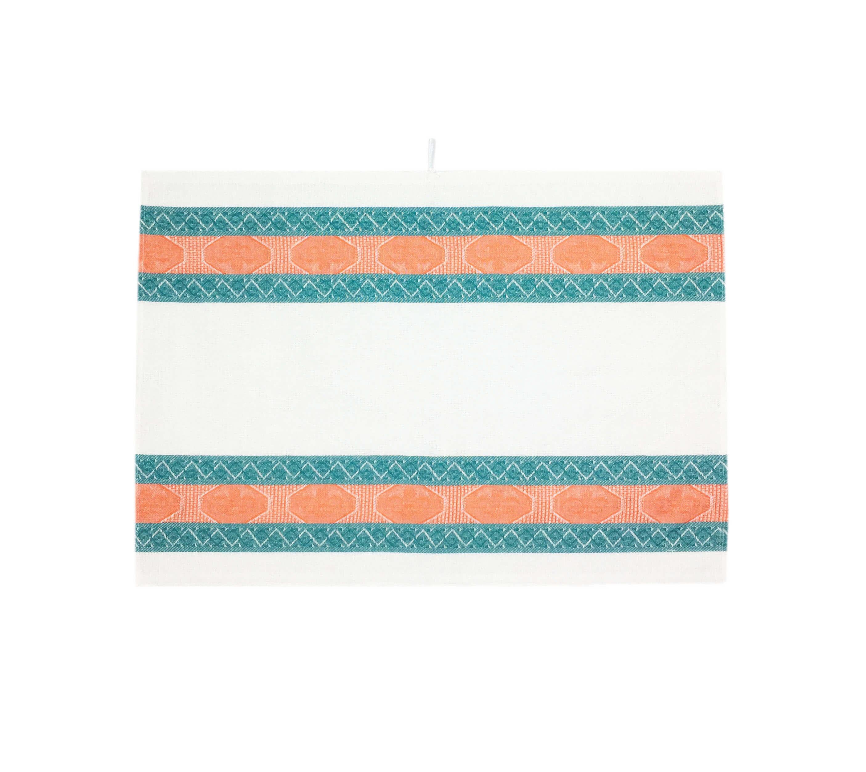 Полотенце кухонное 50*80см жаккардовое, полулен, белый фон (Ромбы, зеленый, вид 1)