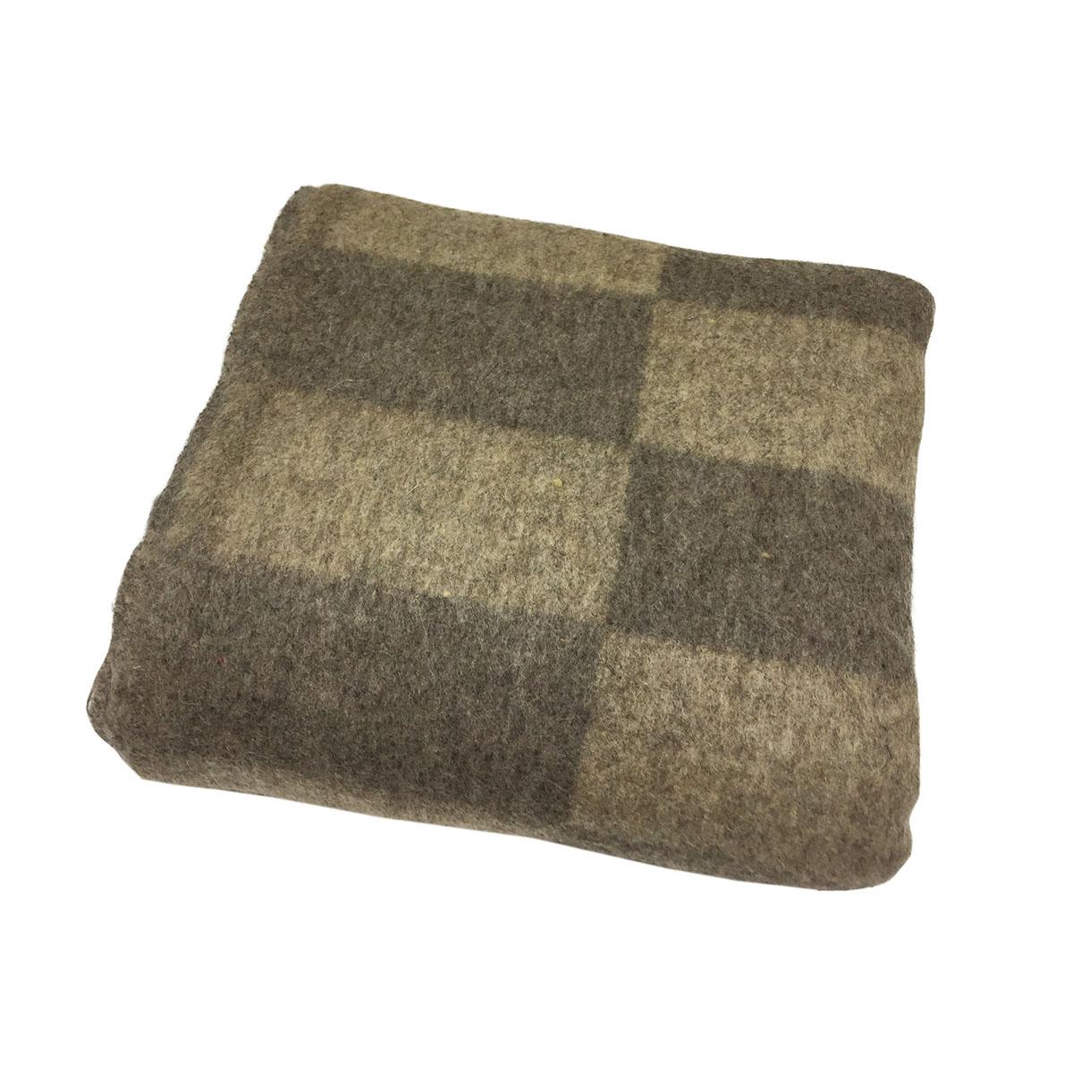 Одеяло полушерстяное 1,5-спальное. Плотность 700 г/м2 (Крупная клетка, бежево-коричневый)