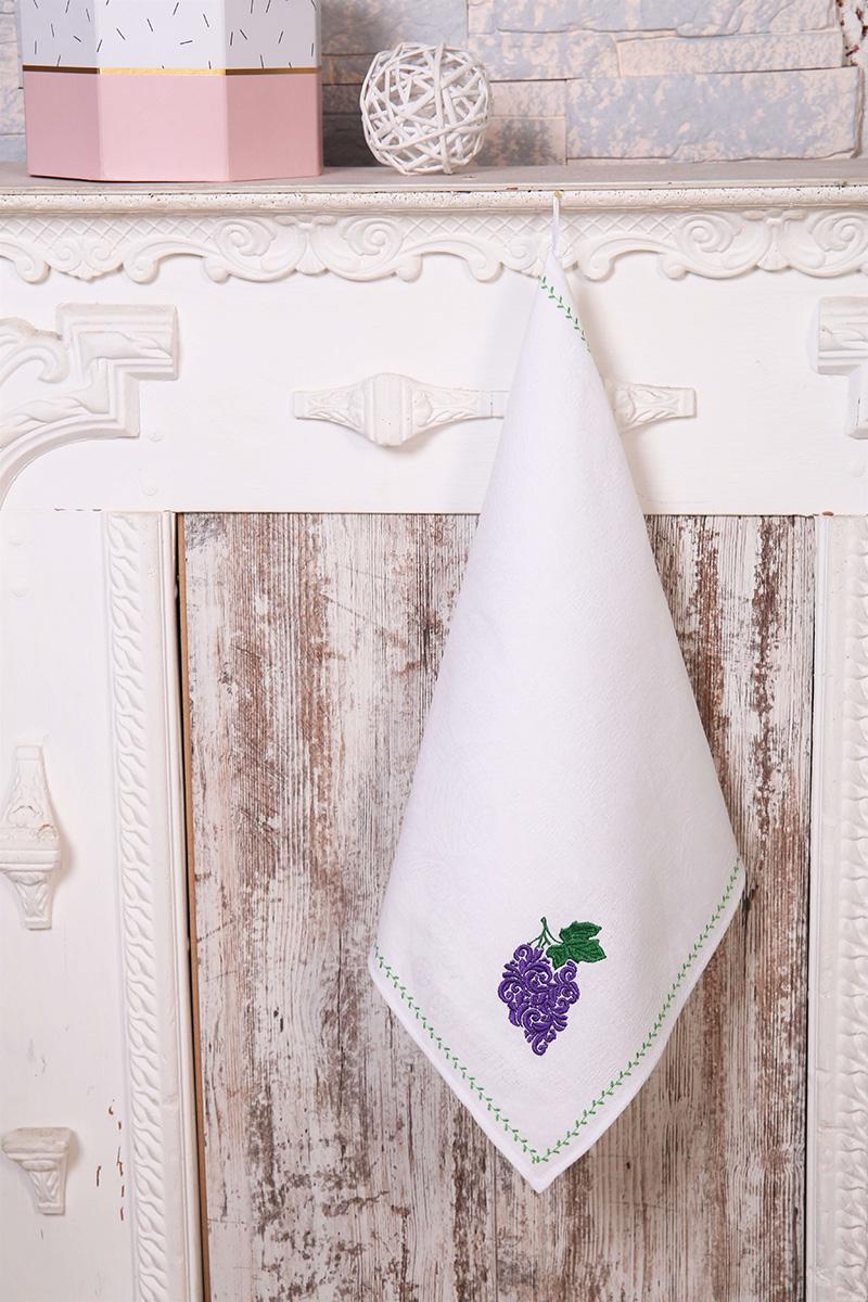 Полотенце кухонное с вышивкой 45*90 см, жаккардовое, 100 % лён (Виноград)