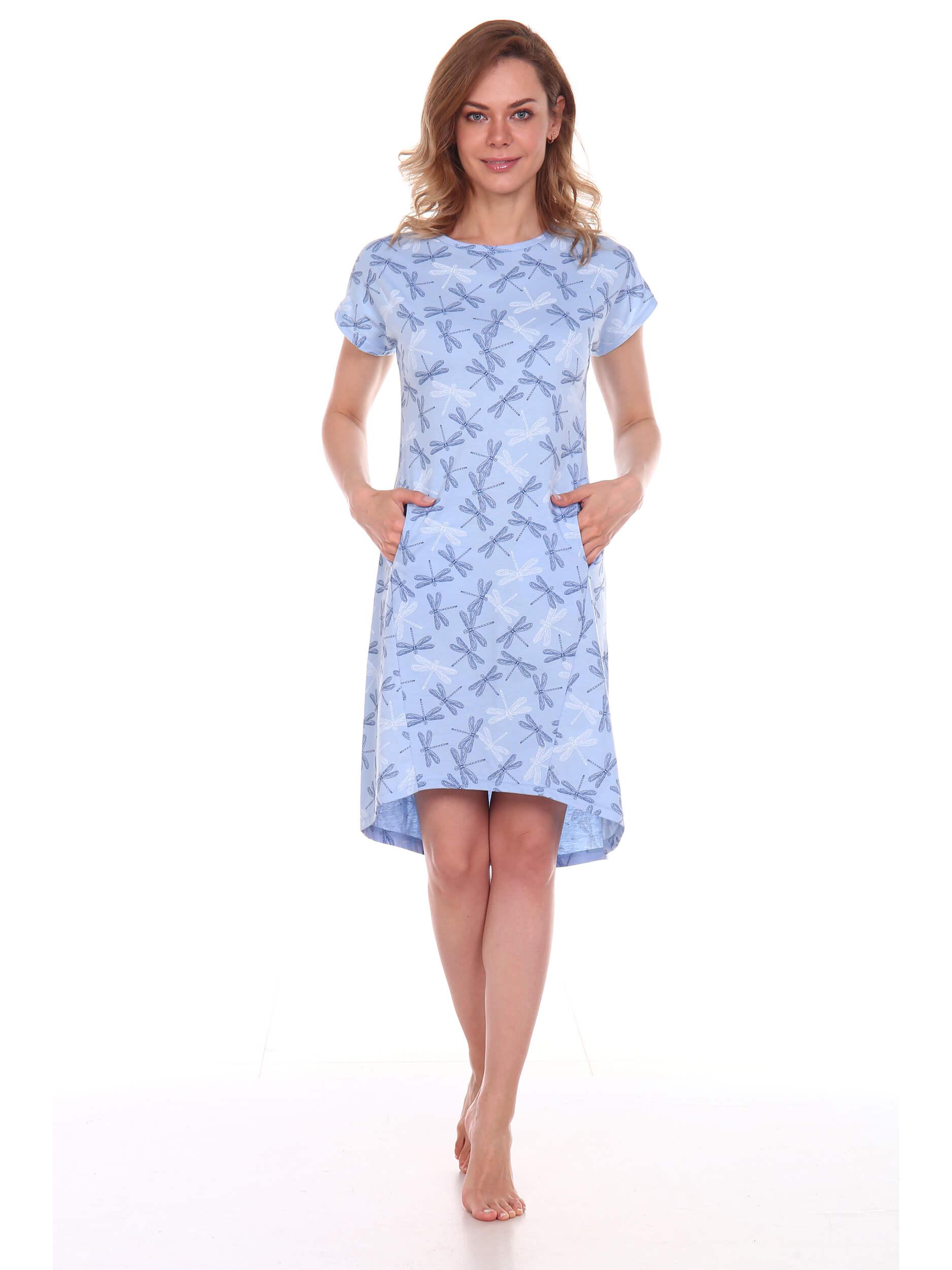 Туника женская, модель 150, трикотаж (Стрекозы, голубой)