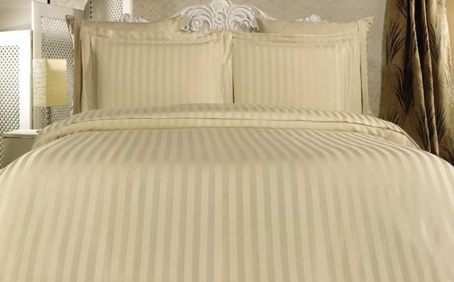Комплект постельного белья Евростандарт, страйп-сатин (Бежевый)