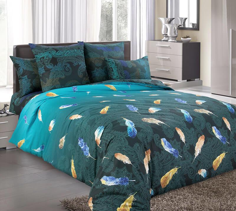 Комплект постельного белья 2-спальный с Евро простыней, поплин (Дуновение)