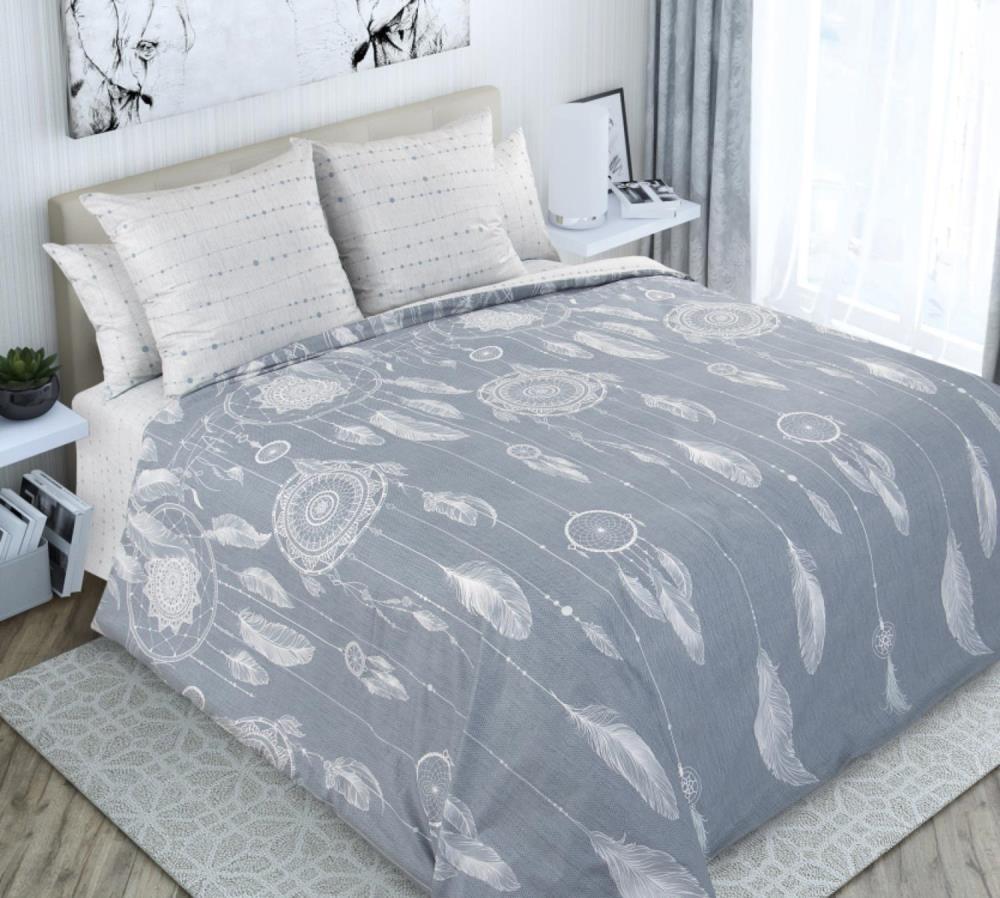 Комплект постельного белья 2-спальный с Евро простыней, поплин (Ловцы снов)