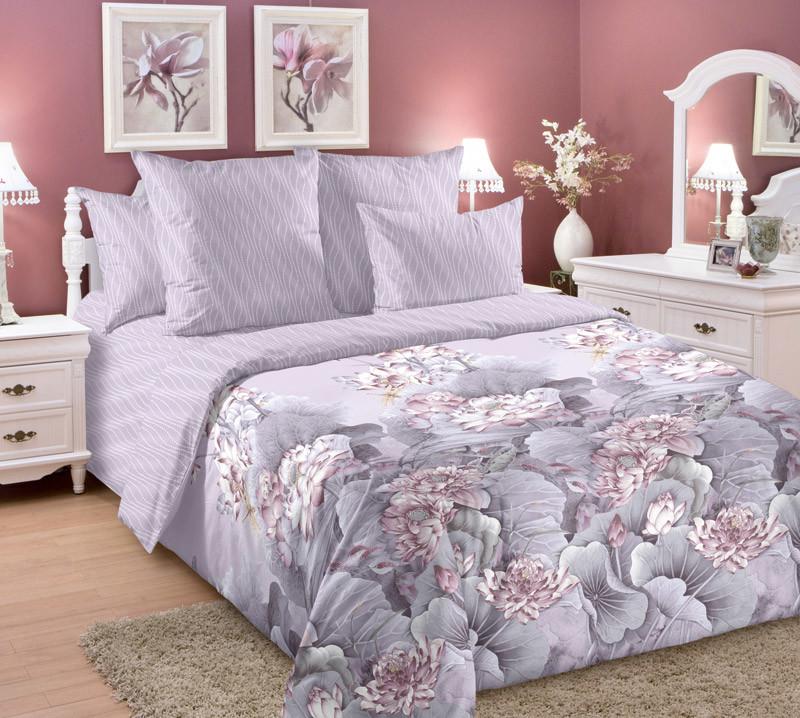 Комплект постельного белья зима-лето, 2-спальный перкаль (Лотосы)