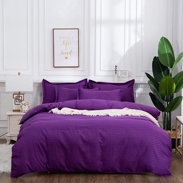 Комплект постельного белья 1,5-спальный, сатин-страйп (Сиреневый)
