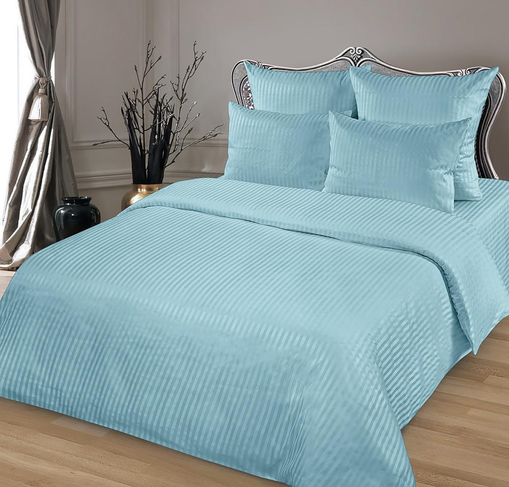 Комплект постельного белья 1,5-спальный, страйп-сатин (Голубой)