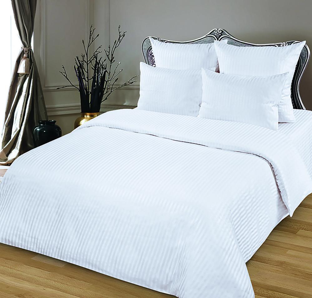 Комплект постельного белья Евростандарт, страйп-сатин (Белый)