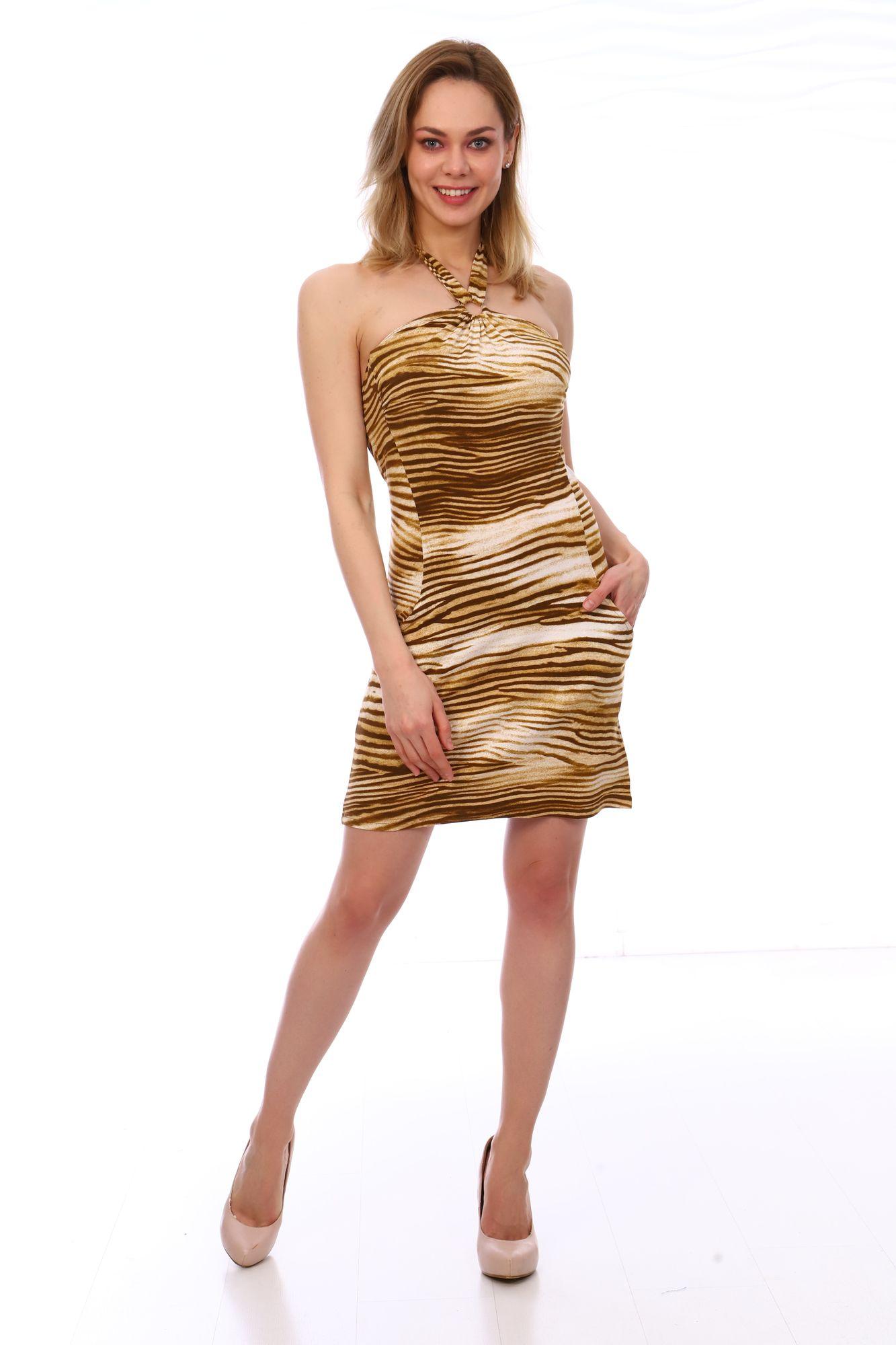 Платье женское, модель 1920007, трикотаж (Стиль, коричневый  )