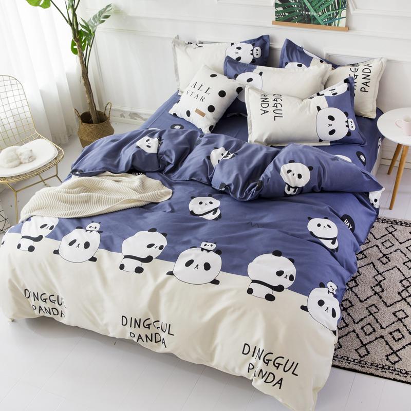 Комплект постельного белья 1,5-спальный, поплин (Панда)