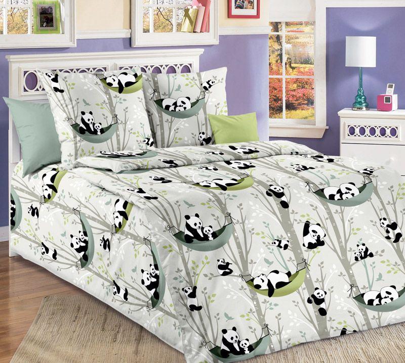"""Пододеяльник 112*147 см в детскую кроватку, бязь """"Люкс"""" (Веселые панды)"""
