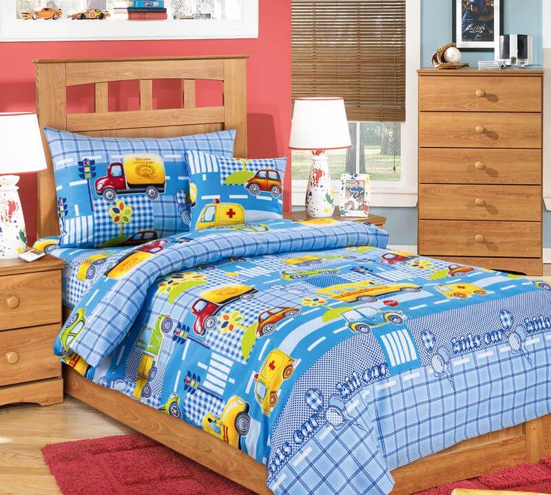 """Пододеяльник 1,5-спальный, бязь """"Люкс"""", детские расцветки (Машинки, голубой)"""