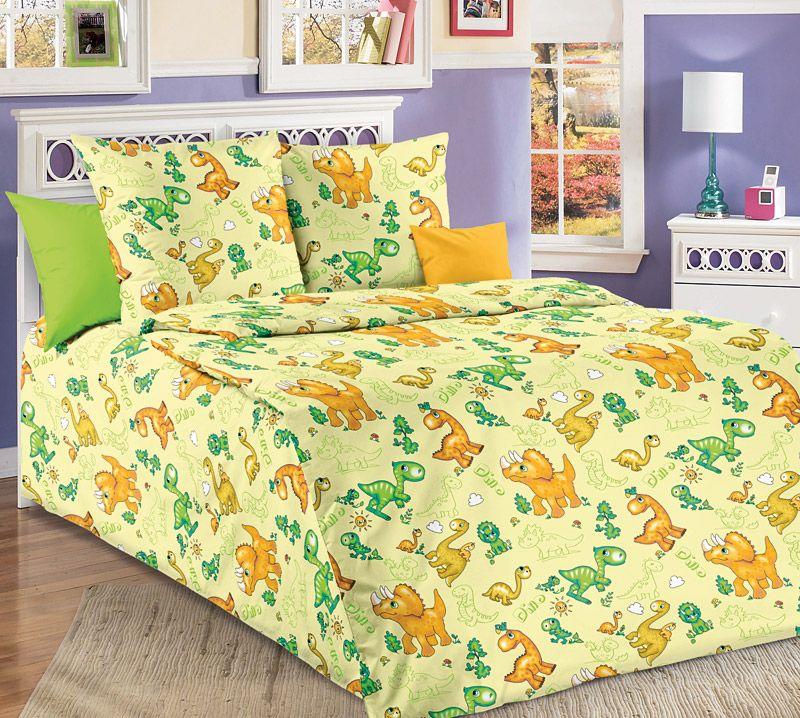 """Комплект постельного белья в детскую кроватку, бязь """"Люкс"""" (Динозаврики)"""