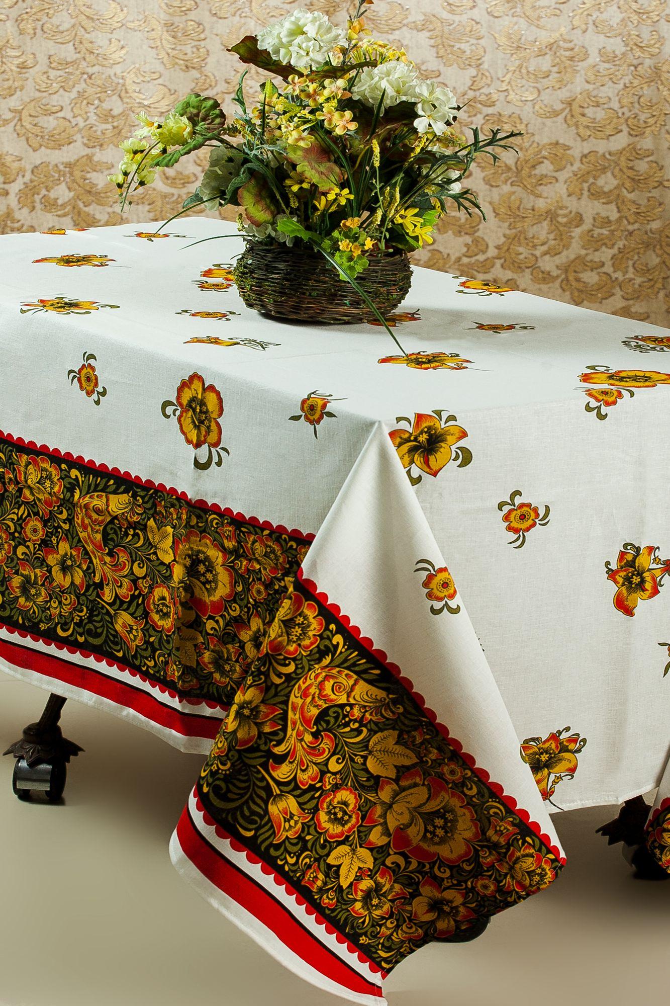 Скатерть 150*150 см, полульняная ткань (Хохлома с Жар-птицей)
